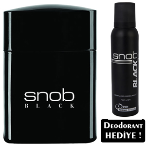 Snob Black Men Edt 100 ml Erkek Parfümü-Deo Spray 150 ml Hediye