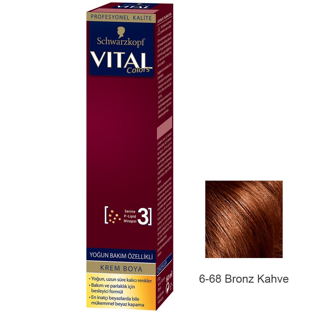 Schwarzkopf Vital Colors Krem Sac Boyasi 6 68 Bronz Kahve