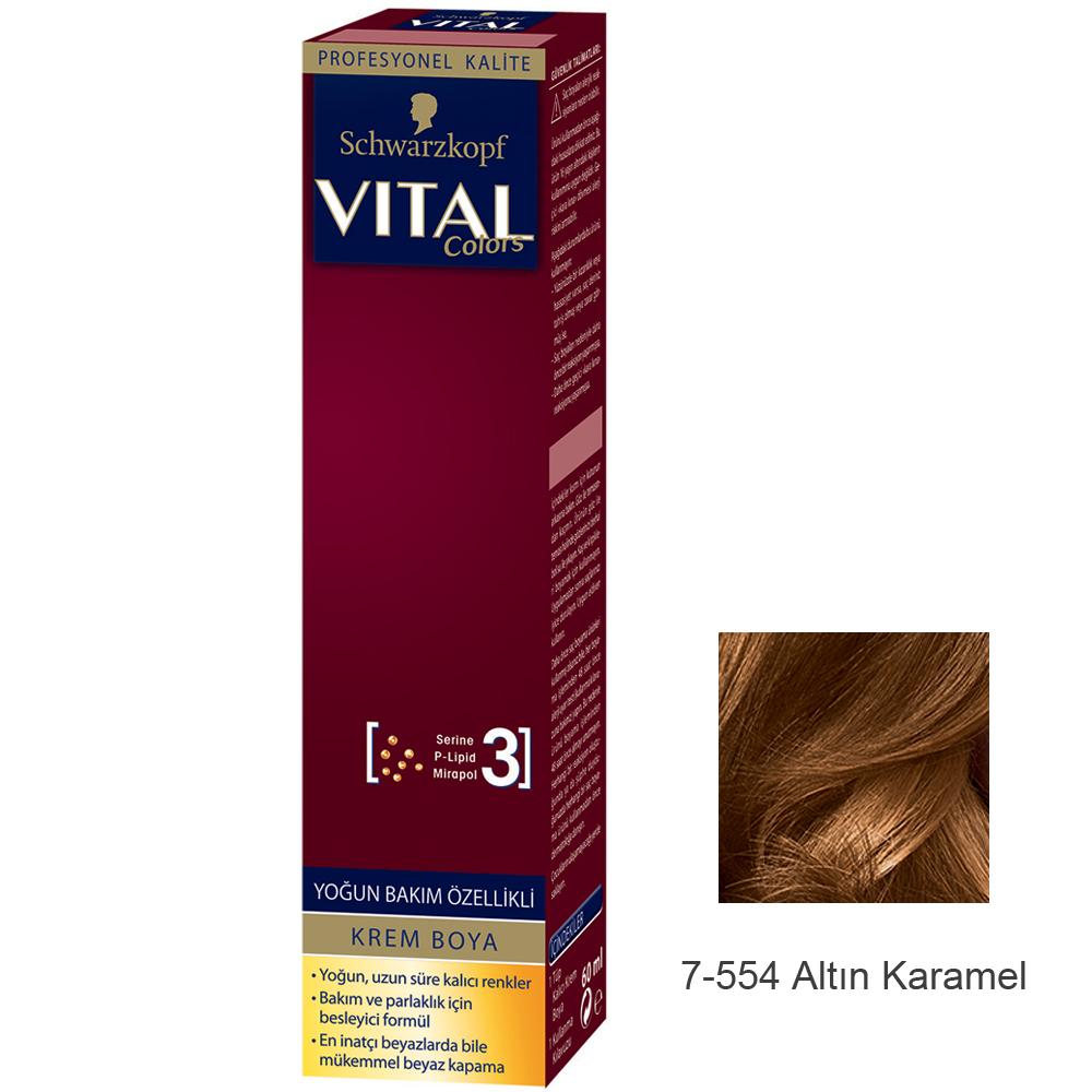 Schwarzkopf Vital Colors Krem Saç Boyası 7 554 Altın Karamel