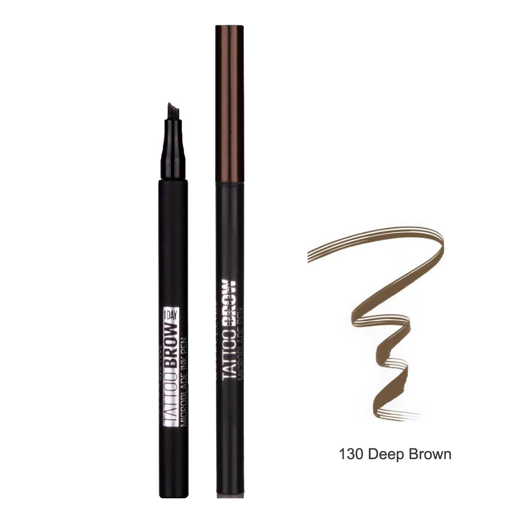 Maybelline Tattoo Brow Microblade Ink Pen Kaş Dolgunlaştırıcı 130 Deep Brown