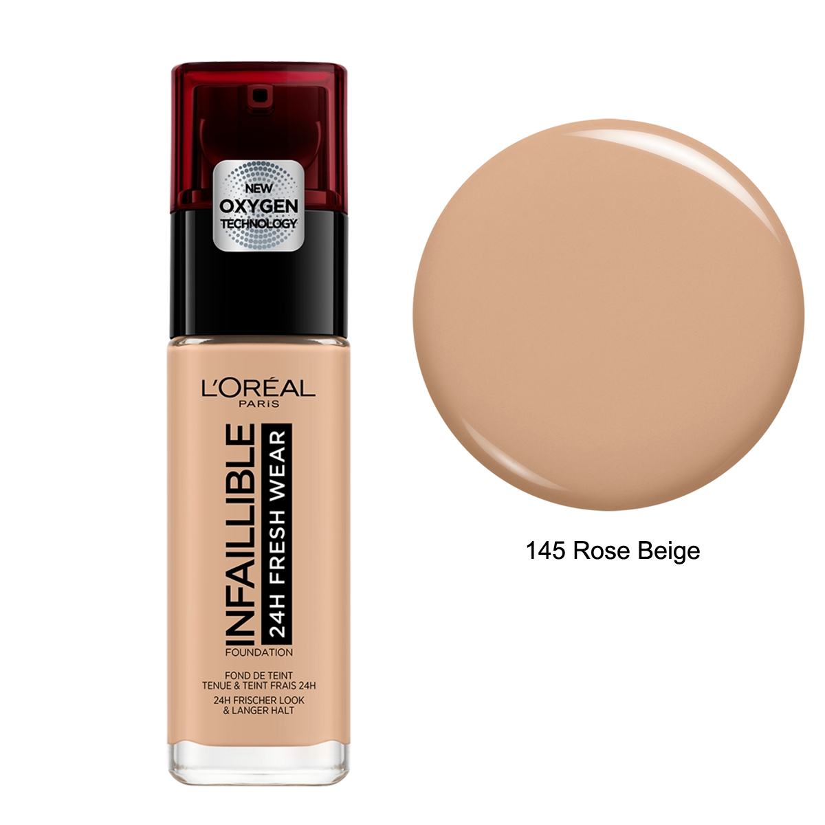 L'Oréal Infaillible 24H Fresh Wear Foundation Uzun Süre Kalıcı Fondöten 145 Rose Beige